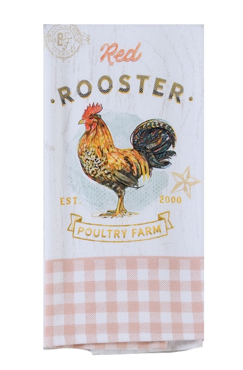 Kay Dee (R7090) Local Market Red Rooster Dual Purpose Terry Towel