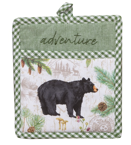 Kay Dee (R4332) Pinecone Trails Bear Embroidered Pocket Mitt