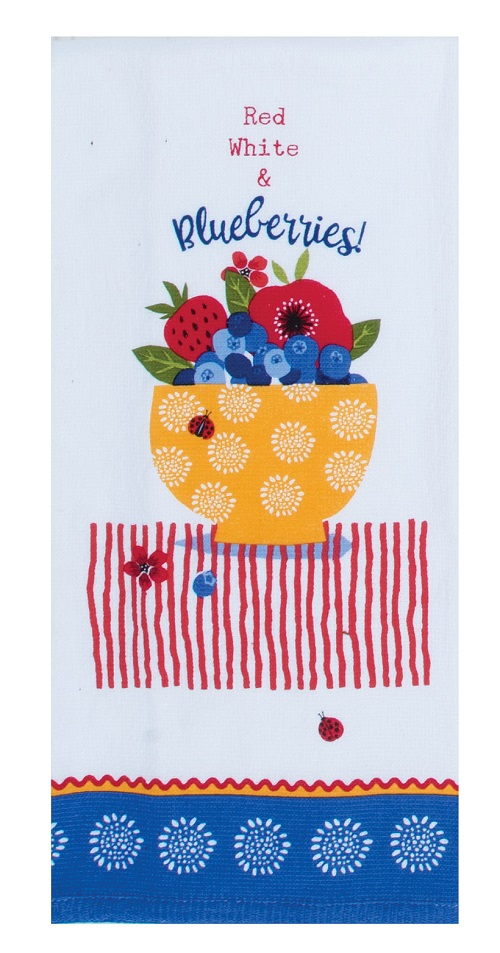 Kay Dee (R5343) Summer Vibes Blueberries Dual Purpose Terry Towel