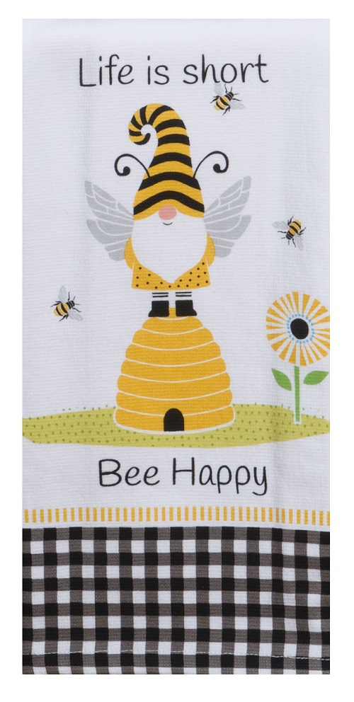 Kay Dee (R7160) Save The Gnomes Bee Happy Dual Purpose Terry Towel