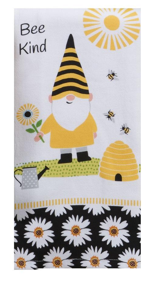 Kay Dee (R7156) Save The Gnomes Bee Kind Dual Purpose Terry Towel